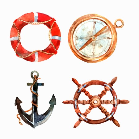 nautical vessel: Watercolor nautical set with lifebuoy compass anchor steering wheel isolated vector illustration