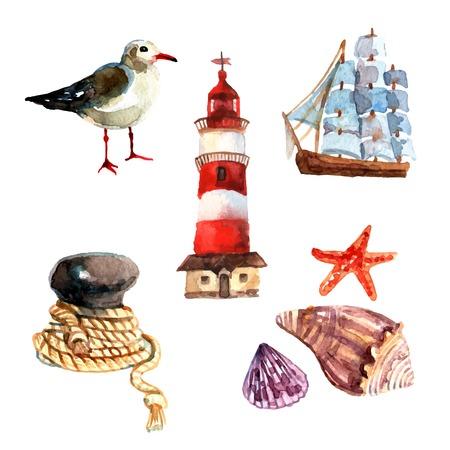 gaviota: Elementos náuticos Acuarela establecen con aislados faro nave de la vela gaviota ilustración vectorial