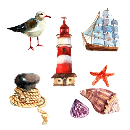 nautical vessel: Watercolor nautical elements set with seagull sail ship lighthouse isolated vector illustration