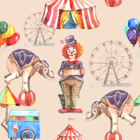 Circus seamless pattern with balloons animals and entertainment tent vector illustration Illustration