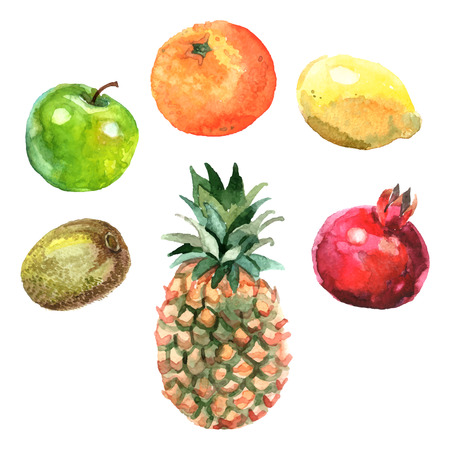 pomegranate: Watercolor fruits set with pineapple kiwi apple orange lemon and pomegranate isolated vector illustration