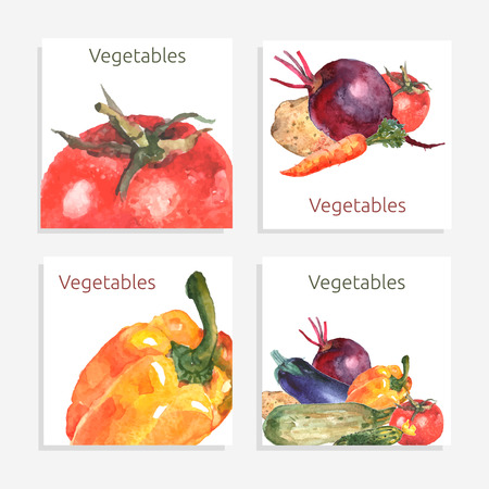 Vegetable card set with watercolor tomato bell pepper cucumber isolated vector illustration