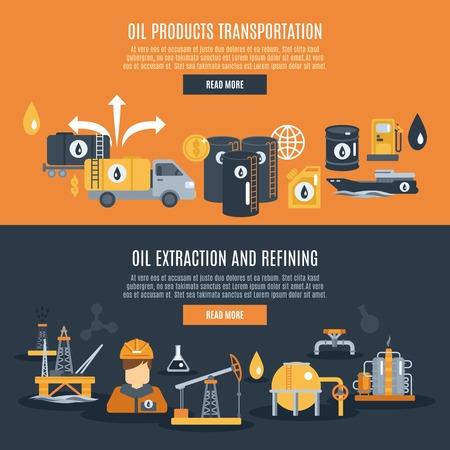 trabajador petroleros: La industria petrolera banner horizontal conjunto con elementos de refinaci�n y transporte de extracci�n de ilustraci�n vectorial aislado Vectores