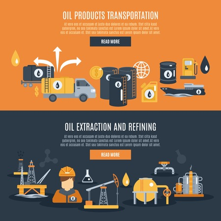 Oil industry horizontal banner set with extraction refining and transportation elements isolated vector illustration Illustration