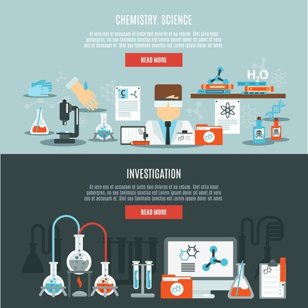 dna laboratory: Chemistry horizontal banner set with science and investigation flat elements isolated vector illustration Illustration
