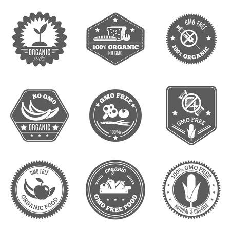 sello: Etiqueta libre de alimentos agricultor org�nico conjunto negro Gmo aislado ilustraci�n vectorial