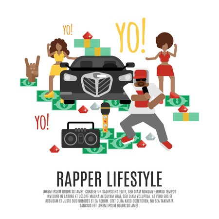 Rap music concept with rapper lifestyle accessories flat icons set vector illustration