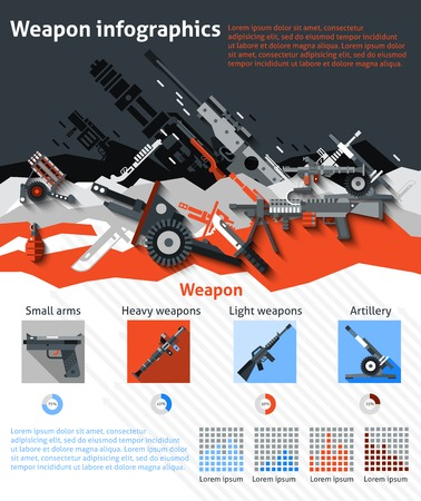 military: Weapon infographics set with military machines army artillery and charts vector illustration