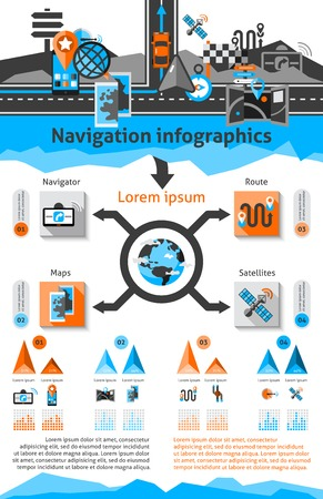 receiver: Navigation infographic set with global route search symbols with charts vector illustration