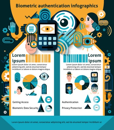 abstract eye: Biometric authentication security technology infographics set with charts vector illustration Illustration