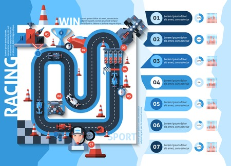 Racing infographics set with auto sport championship symbols and charts vector illustration