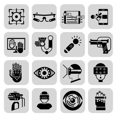 Virtual augmented reality technologies icons black set isolated vector illustration Illustration
