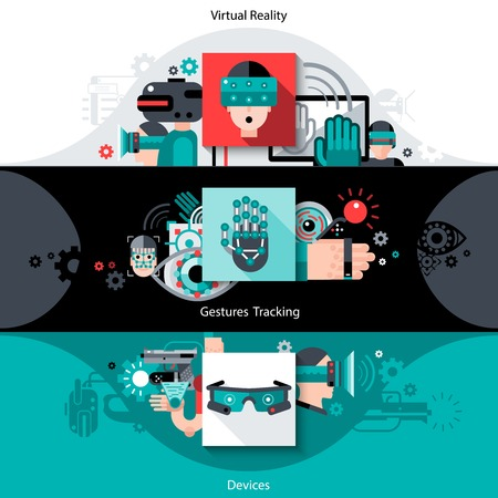 virtual reality: Virtual augmented reality horizontal banners set with tracking gestures devices elements isolated vector illustration