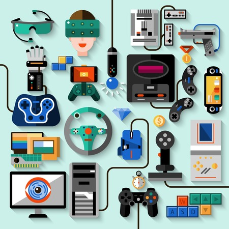 computer gaming: Gaming gadgets computer play technologies icons set isolated vector illustration