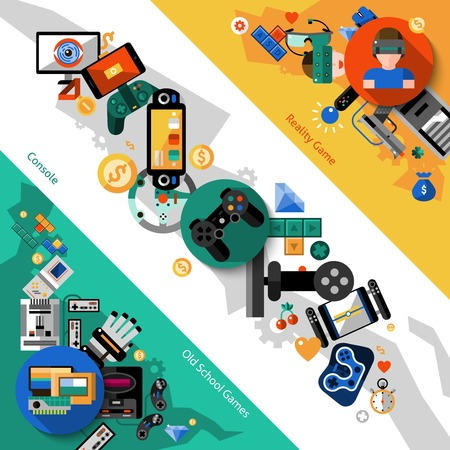 Video games diagonal banners set with reality console old school games elements isolated vector illustration