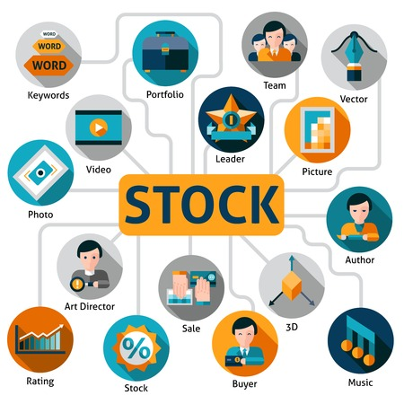 author: Photo and video stock concept with working process elements vector illustration Illustration