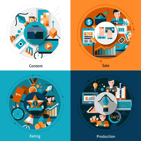 author: Stock design concept set with content sale rating and production flat icons isolated vector illustration Illustration