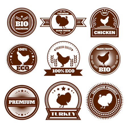 free range: Eco organic farm free range chicken turkey premium quality production emblems icons set abstract isolated vector illustration