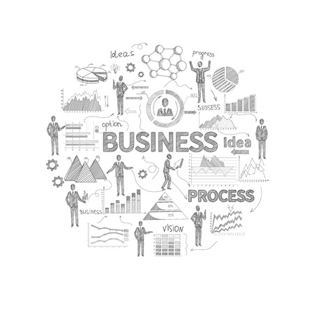 finance report: Business process concept with sketch personnel and finance report charts vector illustration Illustration