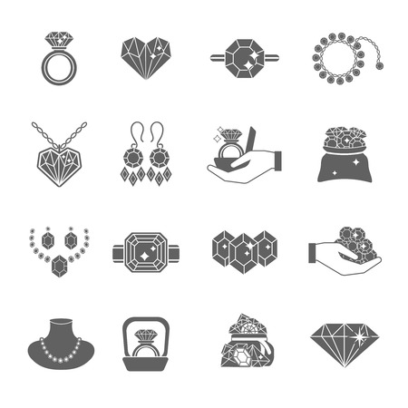 fashion jewelry: Precious jewels luxuty expensive accessories icon black set isolated vector illustration