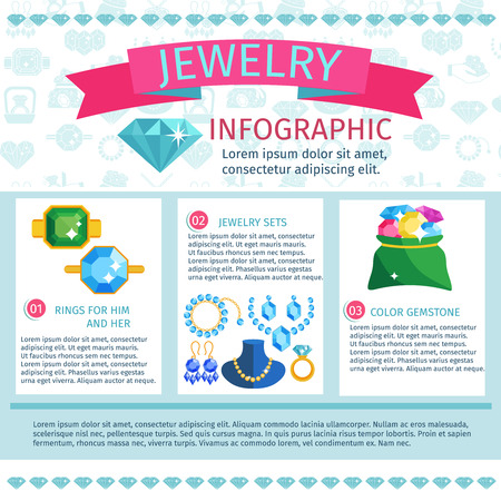 ring ruby: Precious jewels infographics with fashion jewelry gems and accessories set vector illustration
