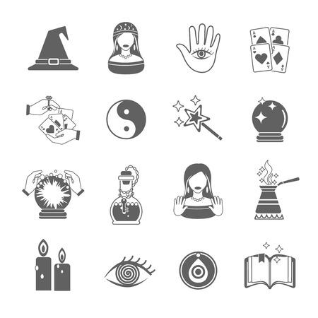 adivino: La fortuna y el futuro icono negro cajero conjunto con símbolos mágicos aislados ilustración vectorial Vectores