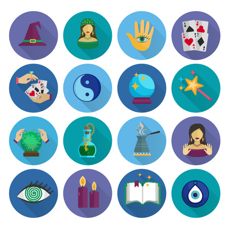 fortune teller: Fortune teller and future prediction icons long shadow flat set isolated vector illustration