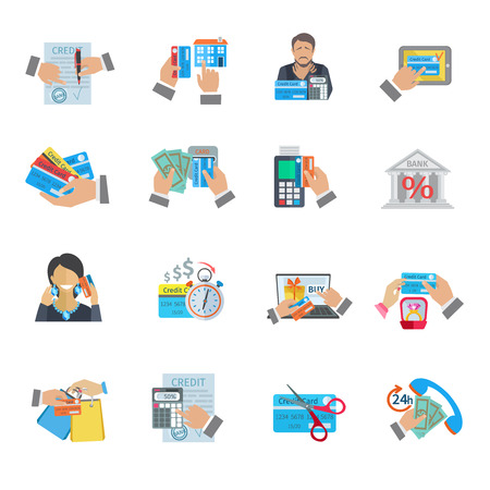 medical bills: Credit life finance and payment icon flat set isolated vector illustration