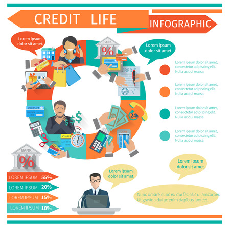 credit crisis: Credit life infographic set with finance symbols and chart vector illustration