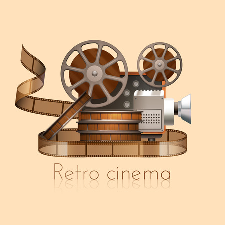 film industry: Retro cinema concept with realistic vintage camera projector and film reel vector illustration