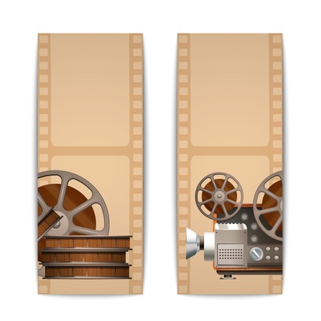 movie projector: Cinema banners vertical set with realistic retro projector and film reel isolated vector illustration