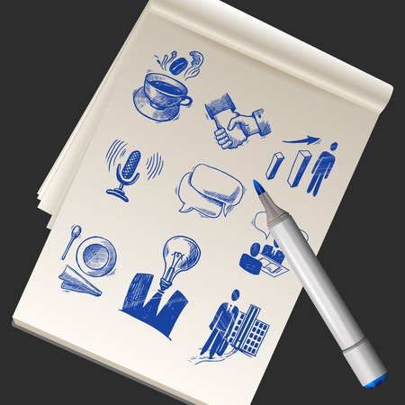 Realistic paper sketchbook with business doodles and marker vector illustration Vector