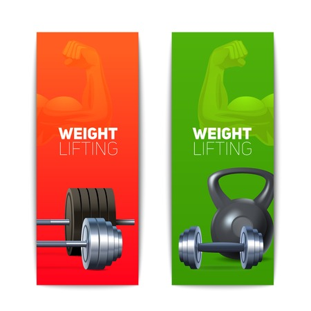 vertical banner: Sports banners vertical set with realistic weight lifting equipment isolated vector illustration Illustration