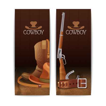 Two vertical cowboy banners with hat boots lasso belt horseshoe winchester rifle isolated vector illustration Illustration