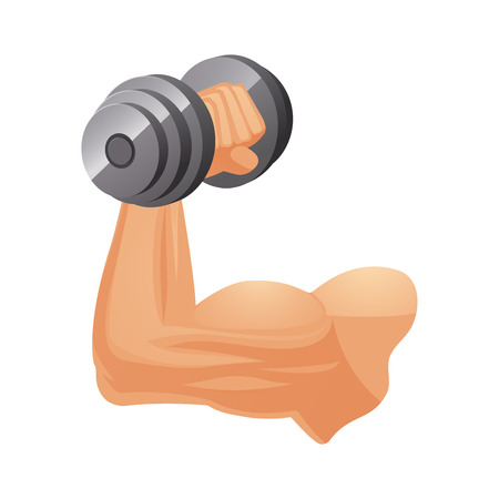 Brawny Caucasian arm with dumbbell isolated vector illustration