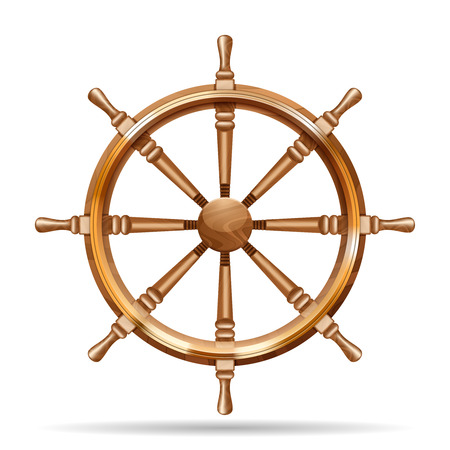 ship wheel: Antique wooden ship wheel on the white background isolated vector illustration