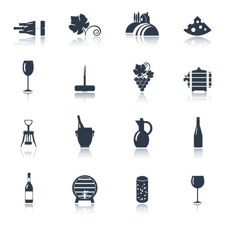 消費: 黒いアイコンを設定する抽象的なチーズ フリークとレストランのワイン消費のためのワイナリー農業生産ベクトル分離イラスト