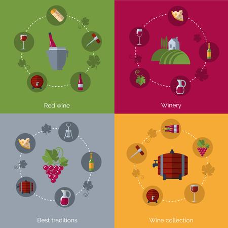 消費: ワイナリー生産コレクションとワインの消費の伝統 4 フラット アイコン組成ポスター印刷フラット抽象的なベクトル イラスト