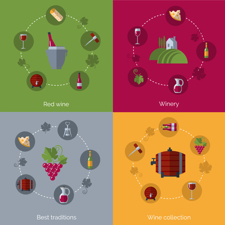 wine growing: Winery production collection  and wine consumption traditions 4 flat icons composition poster print flat abstract vector illustration
