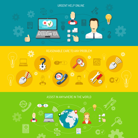 Design support banner horizontal for round-the-clock computer remote support nonstop consultation and search optimal solution isolated vector illustration