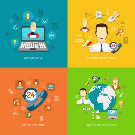 apoyo social: Concepto de diseño creado por ordenador la vuelta al reloj de soporte remoto consulta sin parar y buscar la solución óptima aislado ilustración vectorial