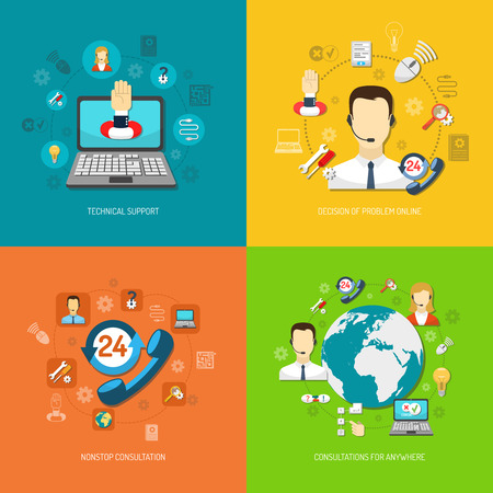 business support: Design concept set for round-the-clock computer remote support nonstop consultation and search optimal solution isolated vector illustration Illustration