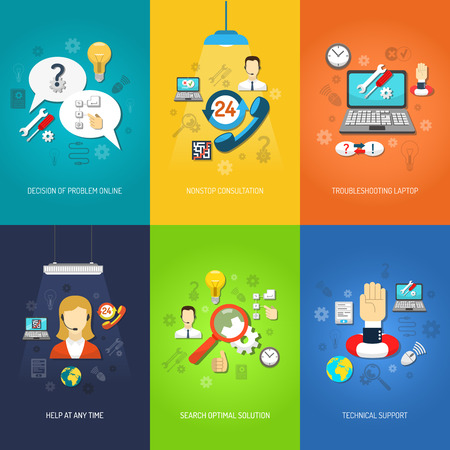 service: Nonstop computer technical support and troubleshooting mini poster set multicolored isolated vector illustration