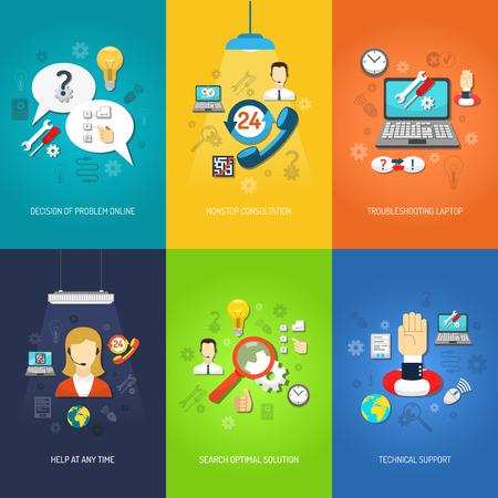 Nonstop Computer technische Unterstützung und Fehler Mini-Poster-Set mehrfarbig isolierten Vektor-Illustration Illustration