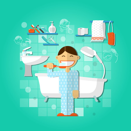 Personal hygiene concept with person brushing teeth vector illustration