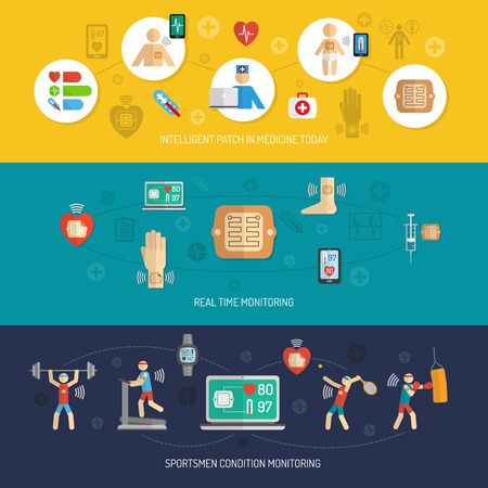 blood pressure: Intelligent wearable smart electronic patch horizontal banner isolated vector illustration