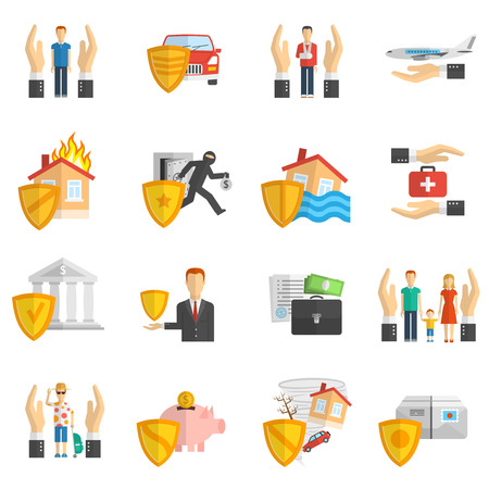 Insurance hand and shield multicolored flat icon set isolated vector illustration