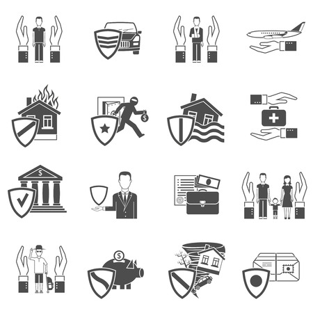 Insurance hand and shield black and white flat icon set isolated vector illustration Vector
