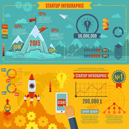Startup infographics set with business development  market strategy charts vector illustration Vector