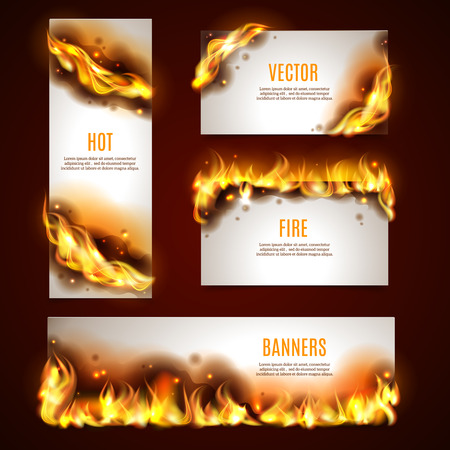 caliente: Fuego caliente publicidad estratégica banners establecidos para los clientes atracción por las ventas del descuento de temporada abstracto aislado ilustración vectorial